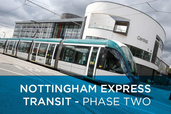 Nottingham Express Transit (NET) developed two new tram lines and expanded the network by 17.5 km